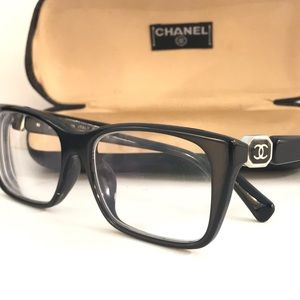 CHANEL AUTHENTIC BLACK FRAME GLASSES AND CASE